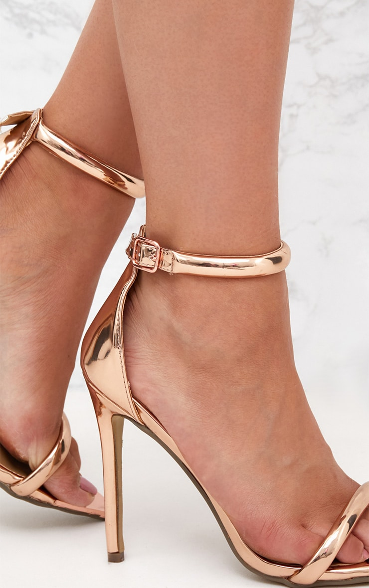 Rose Gold Pointed Toe Strappy Heels 4