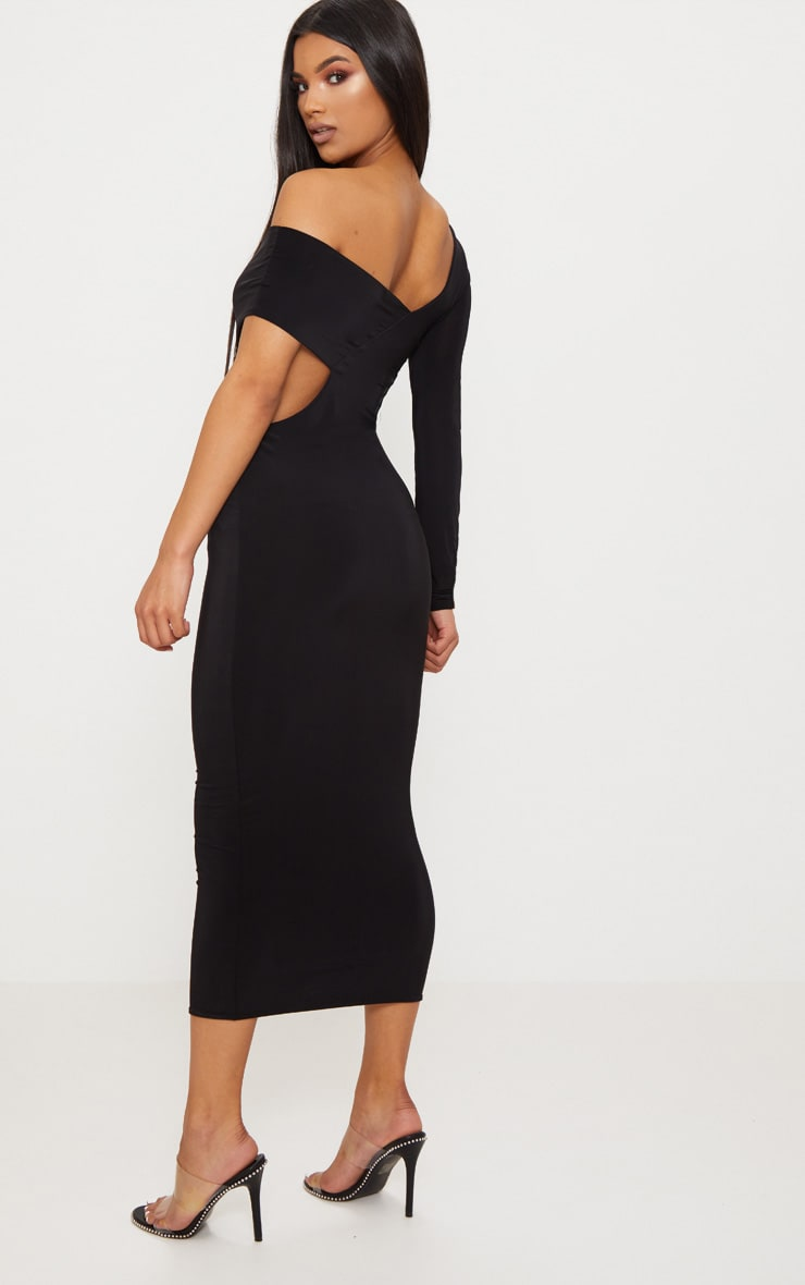 Black Double Layer Slinky One Sleeve Strap Detail Midaxi Dress 2