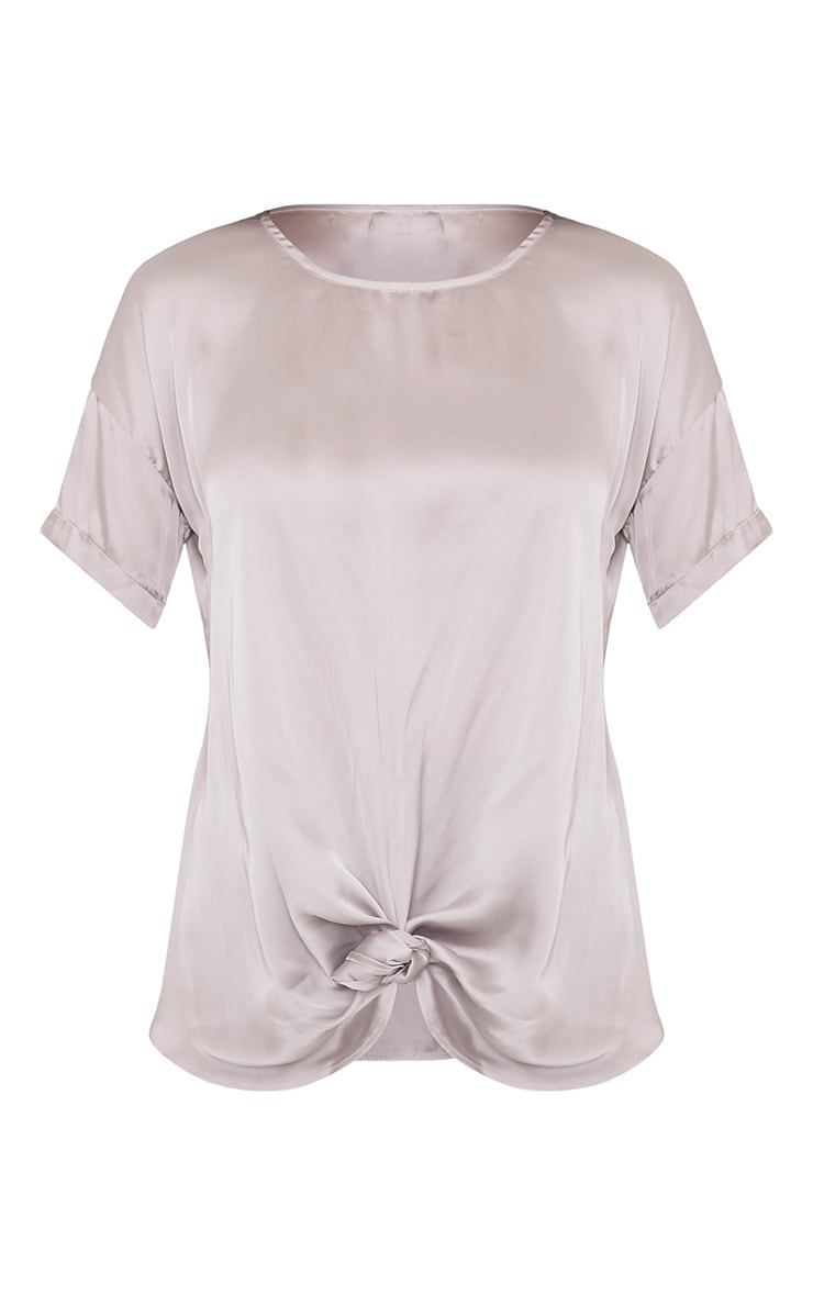 Daisy Silver Grey Satin Knot Front T-Shirt  3