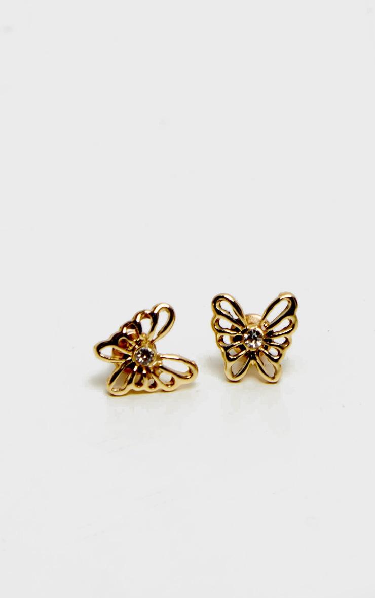 Gold Diamante Butterfly Earrings 2