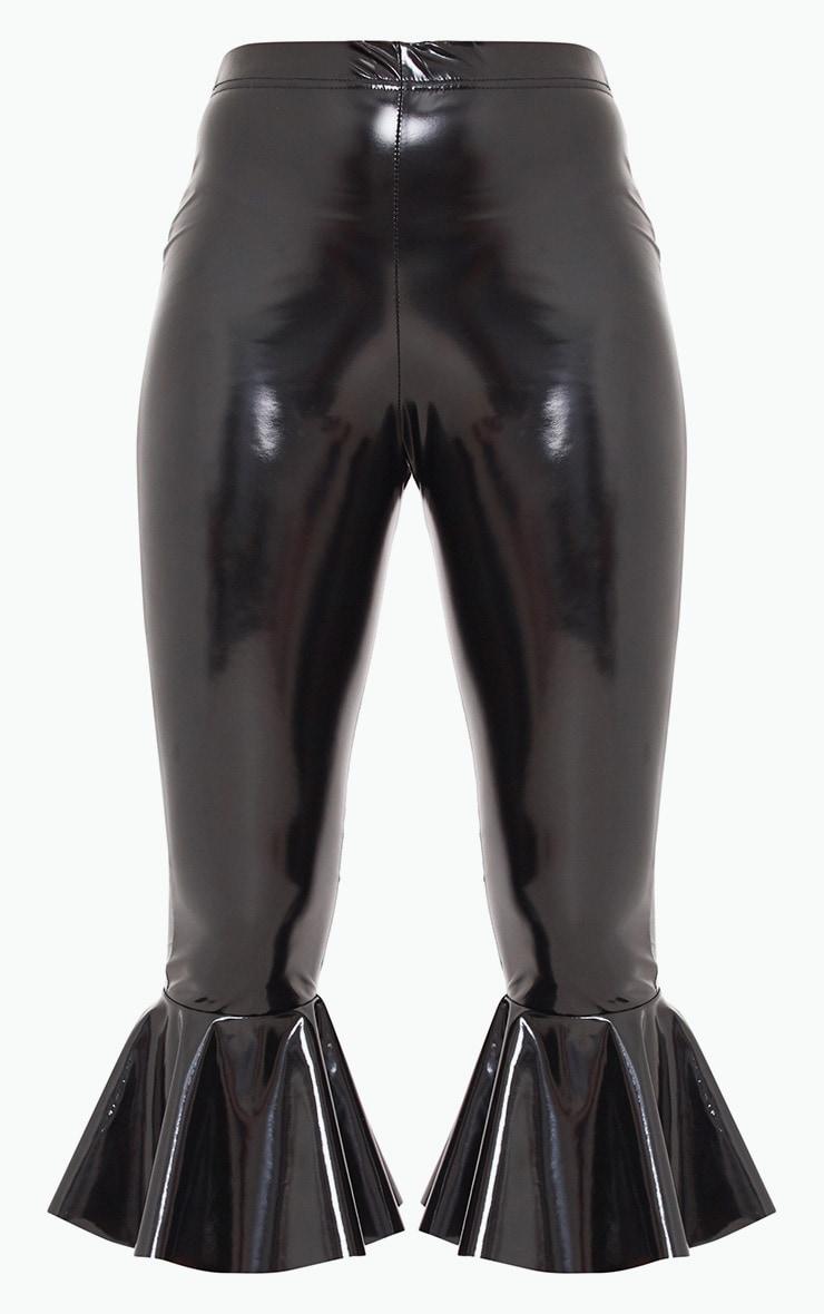 Black Vinyl Flare Hem Trousers 3