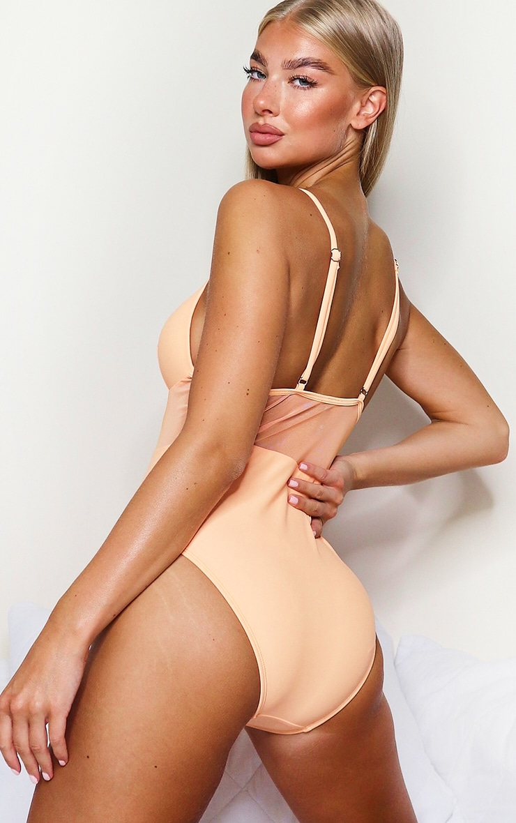 Peach Mesh Panel Swimsuit 2