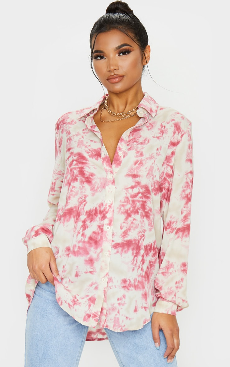 Fuschia Oversized Tie Dye Shirt 3