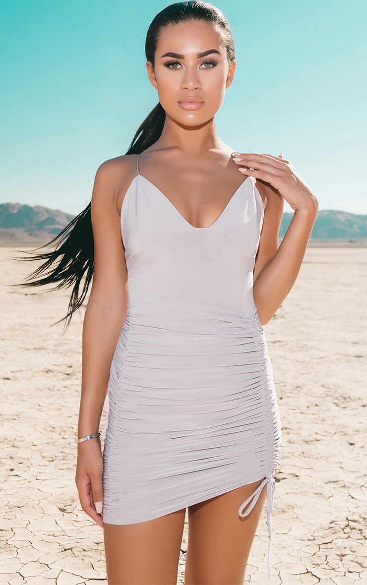 Ice Grey Strappy Plunge Ruched Tie Bodycon Dress 1