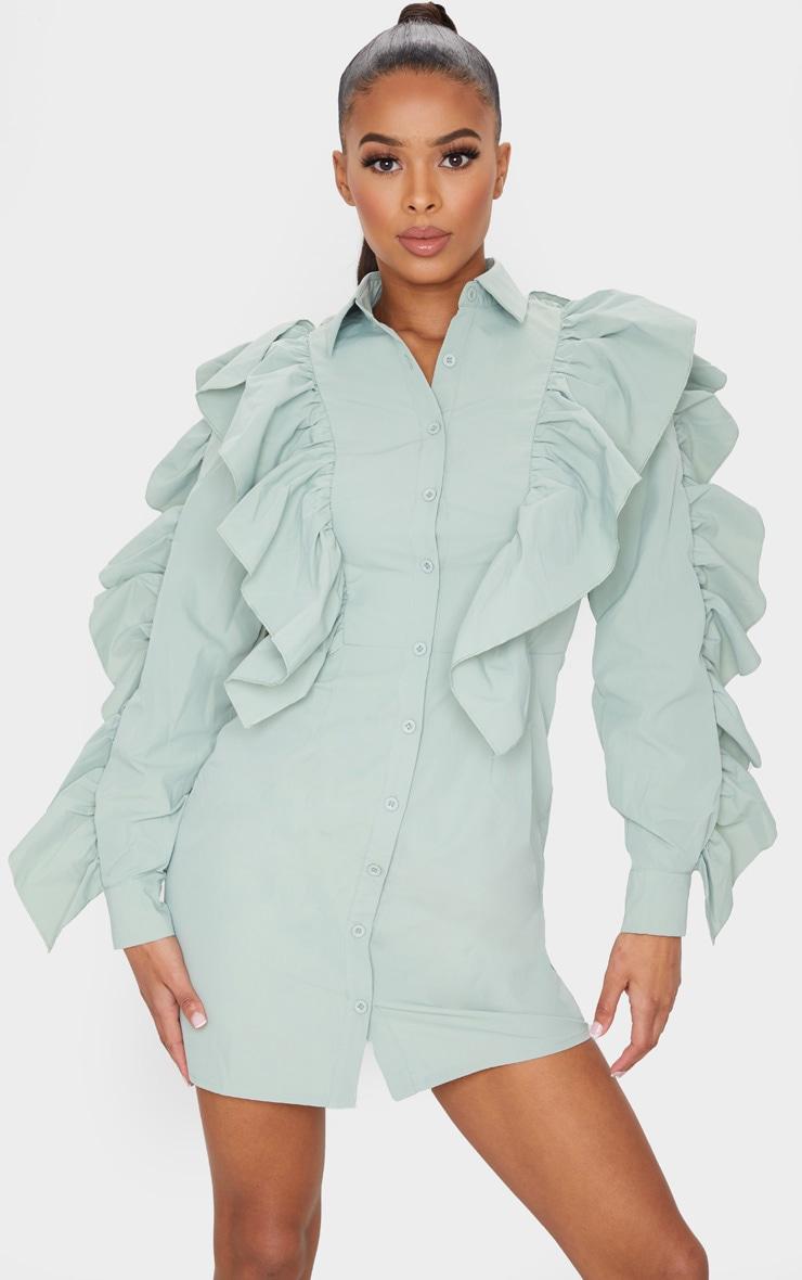 Sage Green Ruffle Detail Button Down Shirt Dress 1