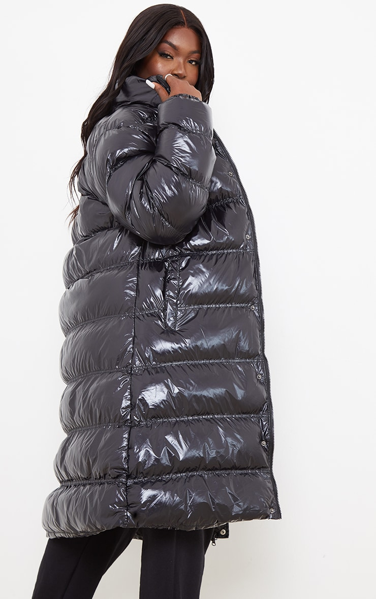 Plus Black Maxi High Shine Fitted Puffer 4
