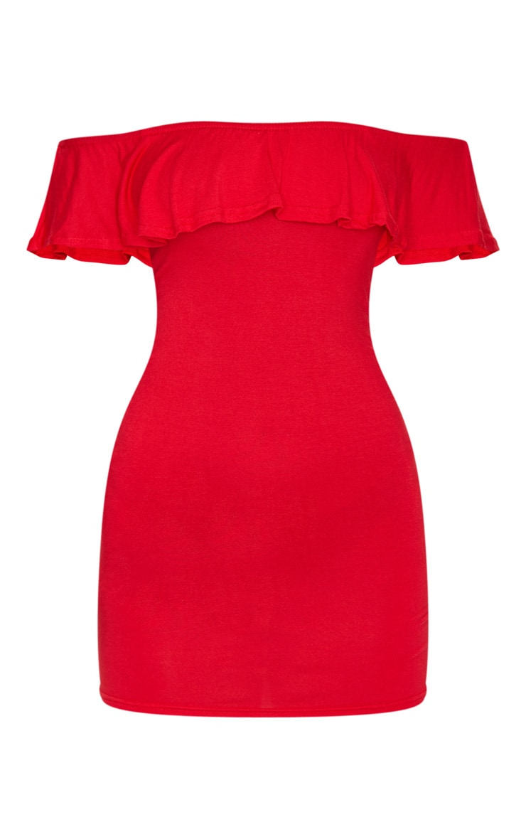 Basic Red Bardot Frill Detail Bodycon Dress 5