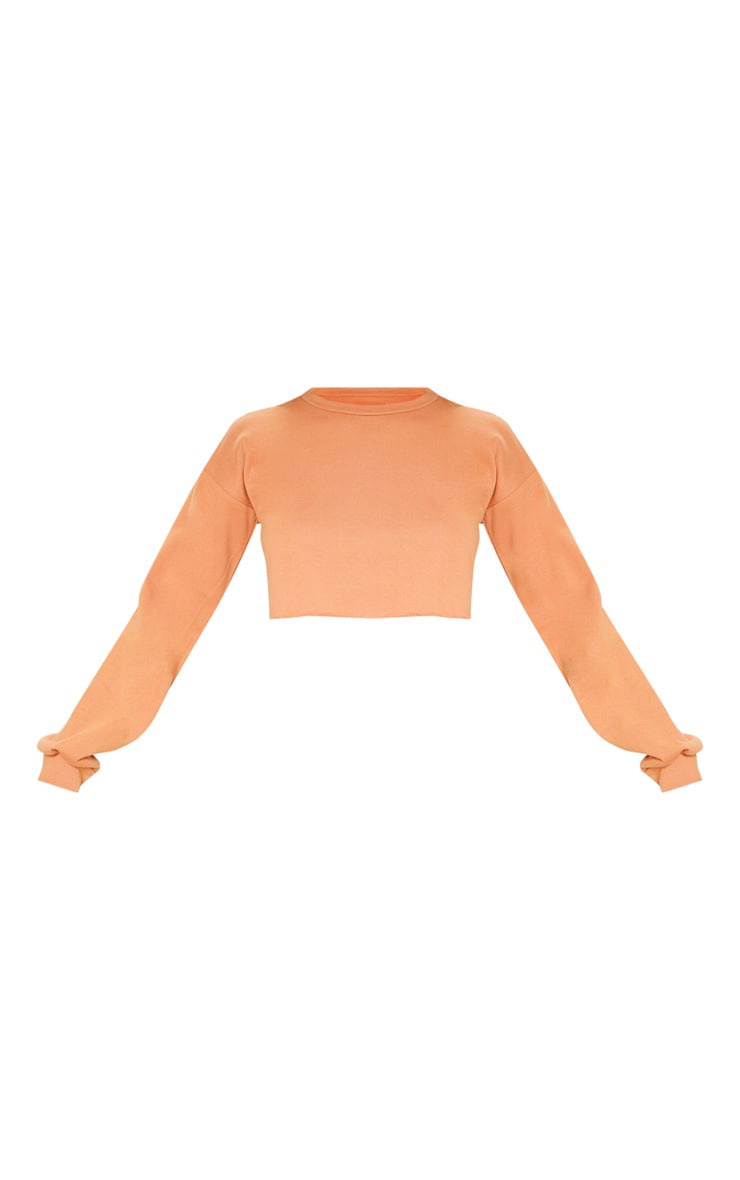 Beau Deep Peach Cut Off Crop Longsleeve Sweater 3