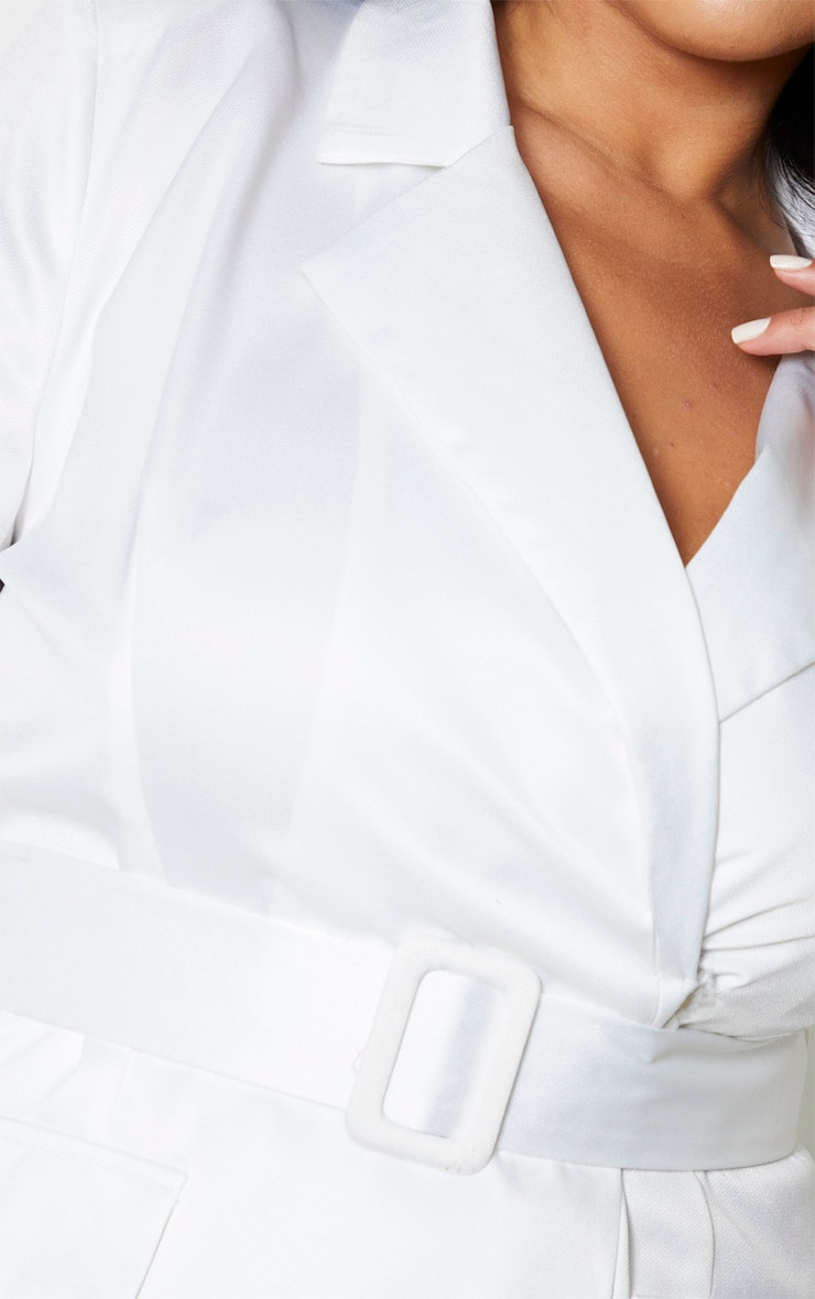 Plus Cream Pocket Detail Blazer Playsuit 5