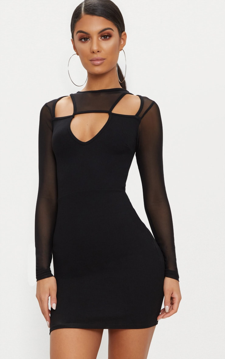 Black Mesh Sleeve Cut Out Detail Bodycon Dress 1