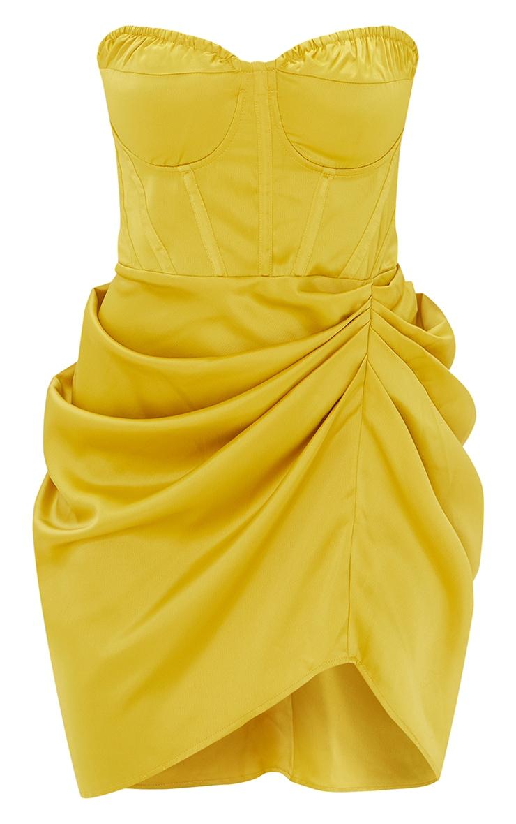 Light Lime Satin Bandeau Corset Detail Gathered Skirt Bodycon Dress 5