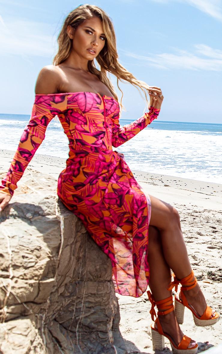 Orange Palm Leaf Long Sleeve Zip Up Swimsuit 5
