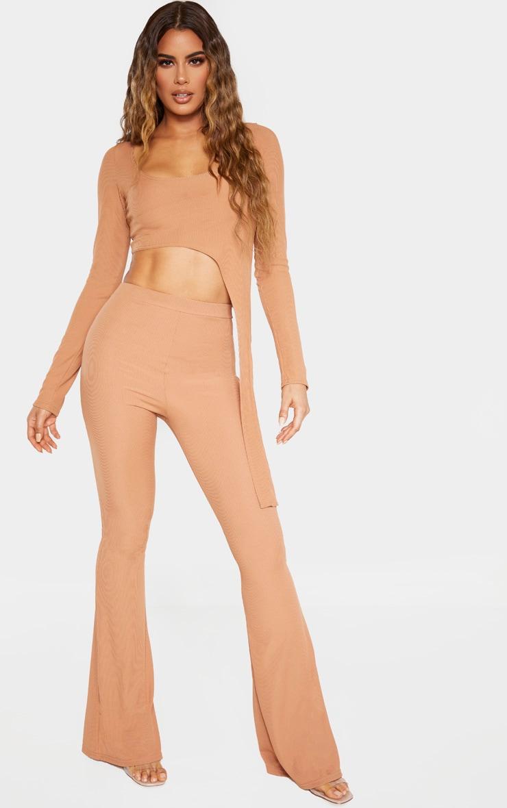 Tall Camel Ribbed Asymmetric Long Sleeve Crop Top  4