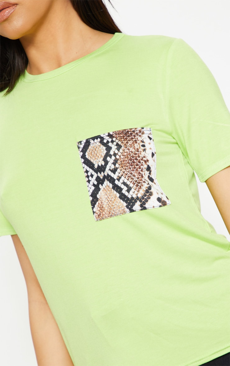 Neon Lime Print Pocket T Shirt 5