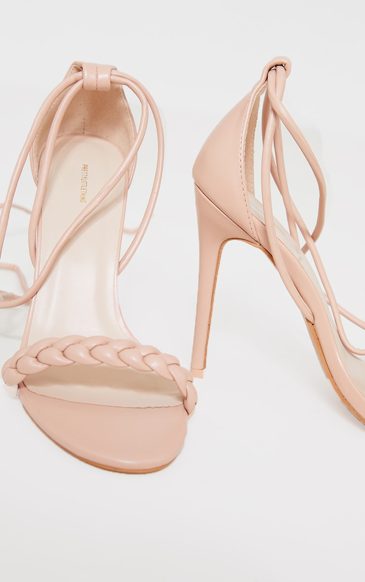 Nude Platted Strap Lace Up Heel Sandals 4