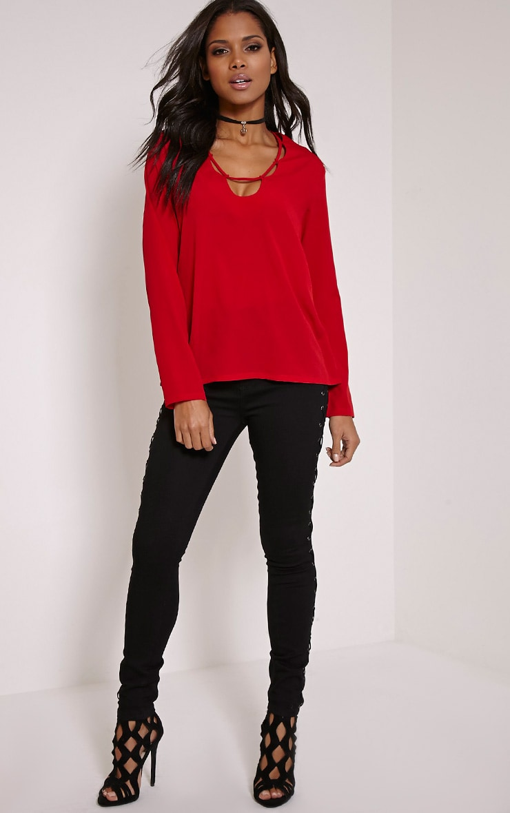 Remie Red Lace Up Floaty Blouse 3