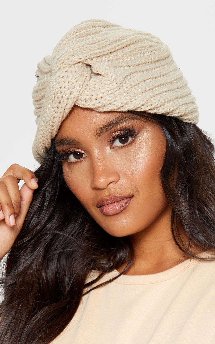 Cream Knitted Knot Turban 1