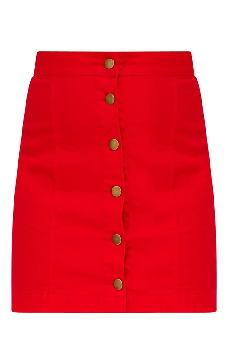Red Denim Button Down Mini Skirt 3