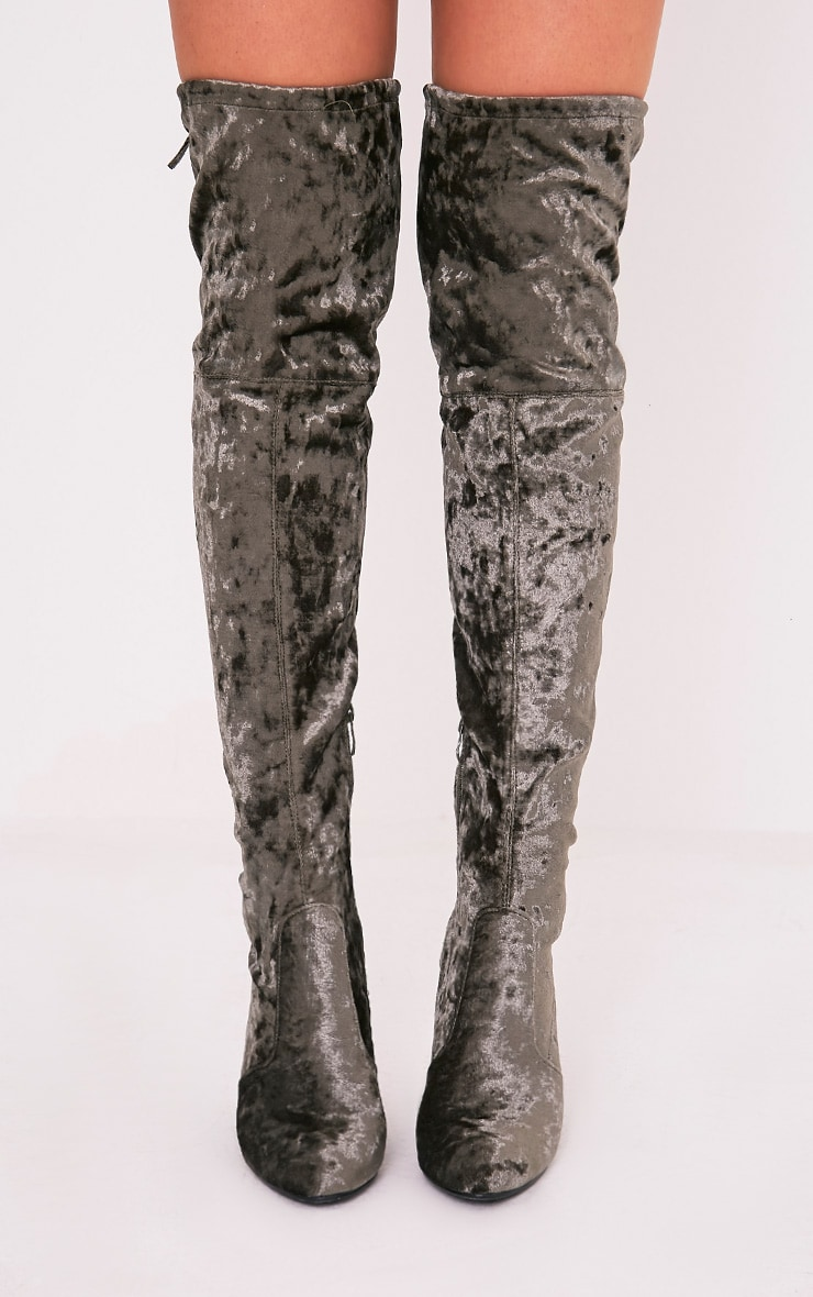 Bess Khaki Crushed Velvet Heeled Thigh Boots 2