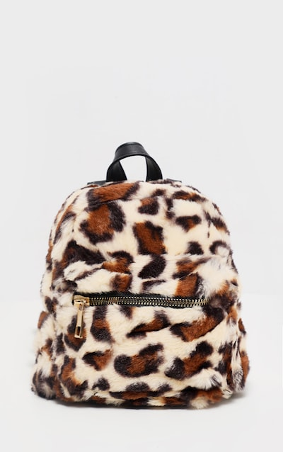 Leopard Faux Fur Mini Back Pack