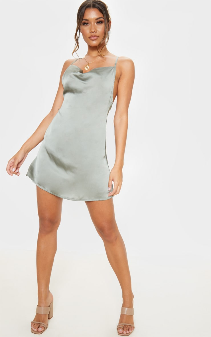 Sage Green Satin Cowl Neck Shift Dress 4