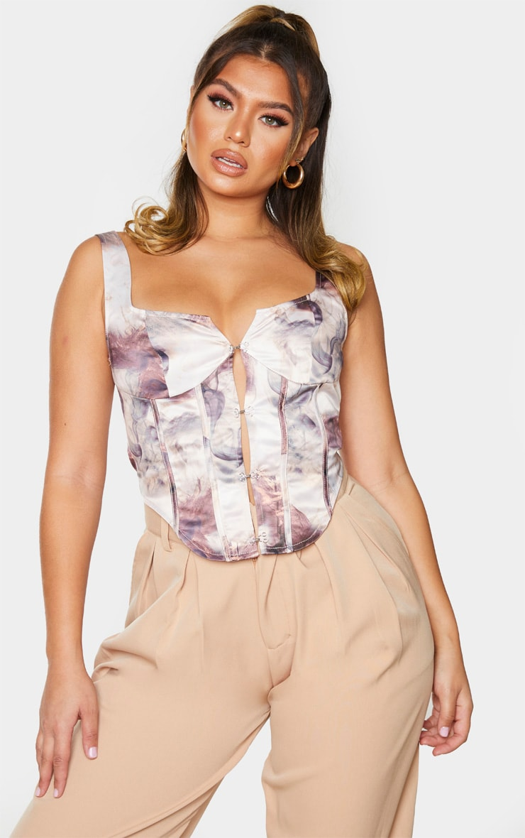 Nude Cloud Abstract Print Dye Hook Front Structured Corset 1