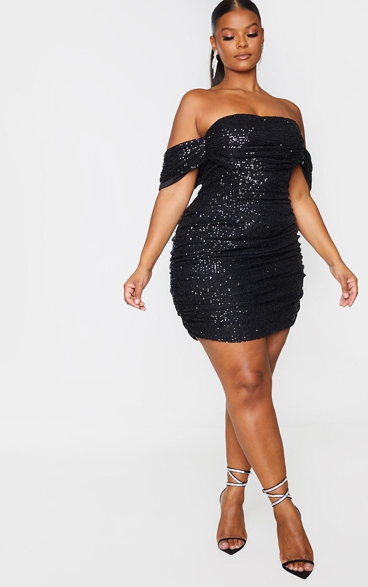 Plus Black Sequin Bardot Bodycon Dress 3