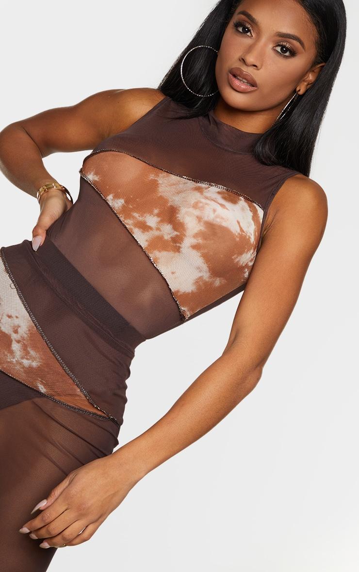 Shape Chocolate Brown Tie Dye Mesh Panel Detail Bodysuit 4