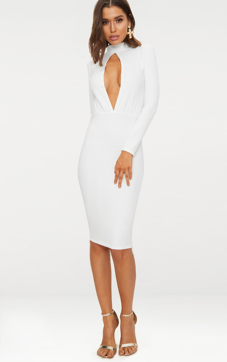 White Keyhole Cut Out Midi Dress 1