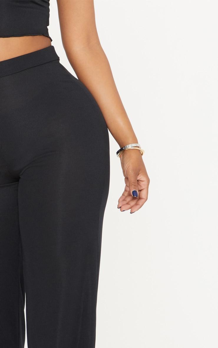 Shape Black High Waist Ribbed Wide Leg Trousers 5