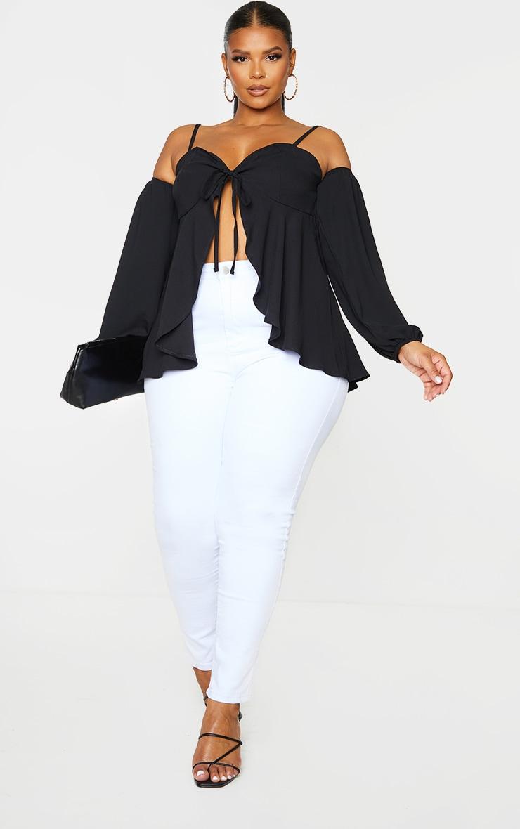 Plus Black Bardot Split Blouse 1