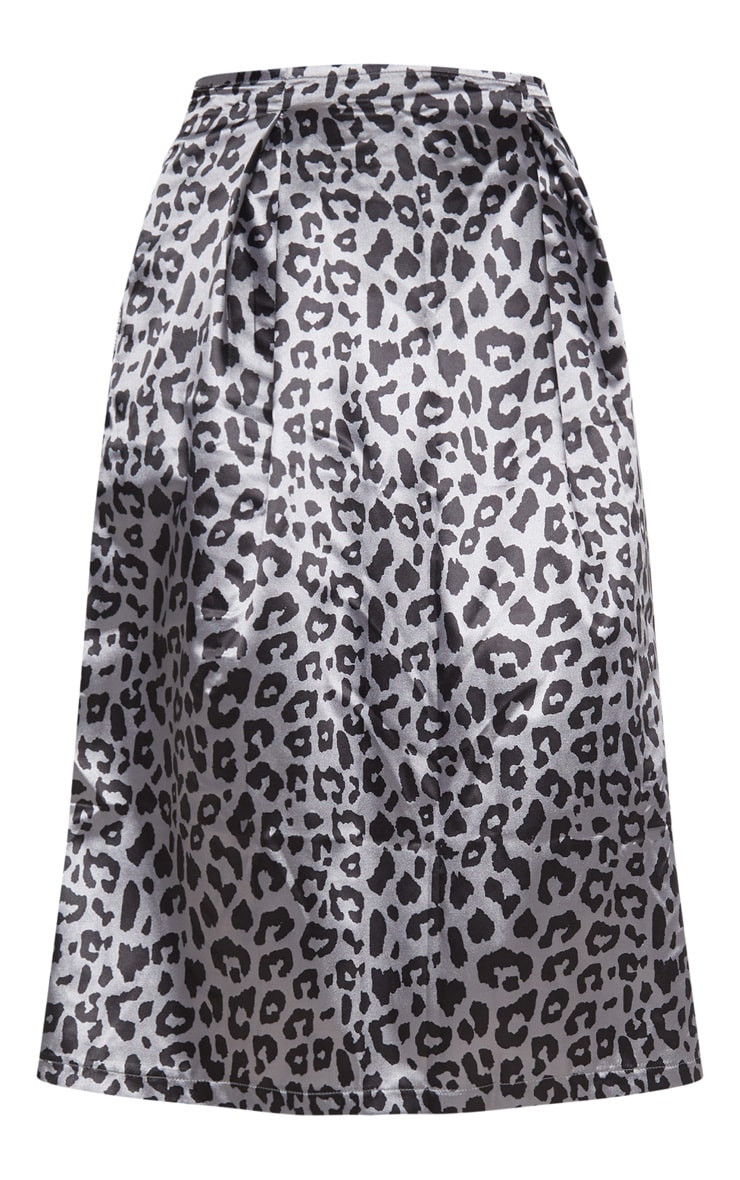 Charcoal Leopard Print Pleat Front Woven Midi Skirt 3