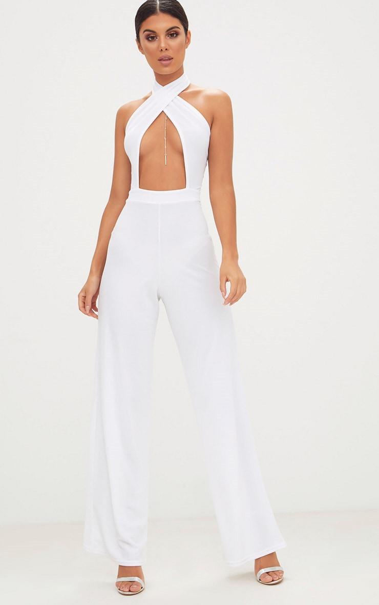 White Crepe Under Boob Wrap Front Jumpsuit  1