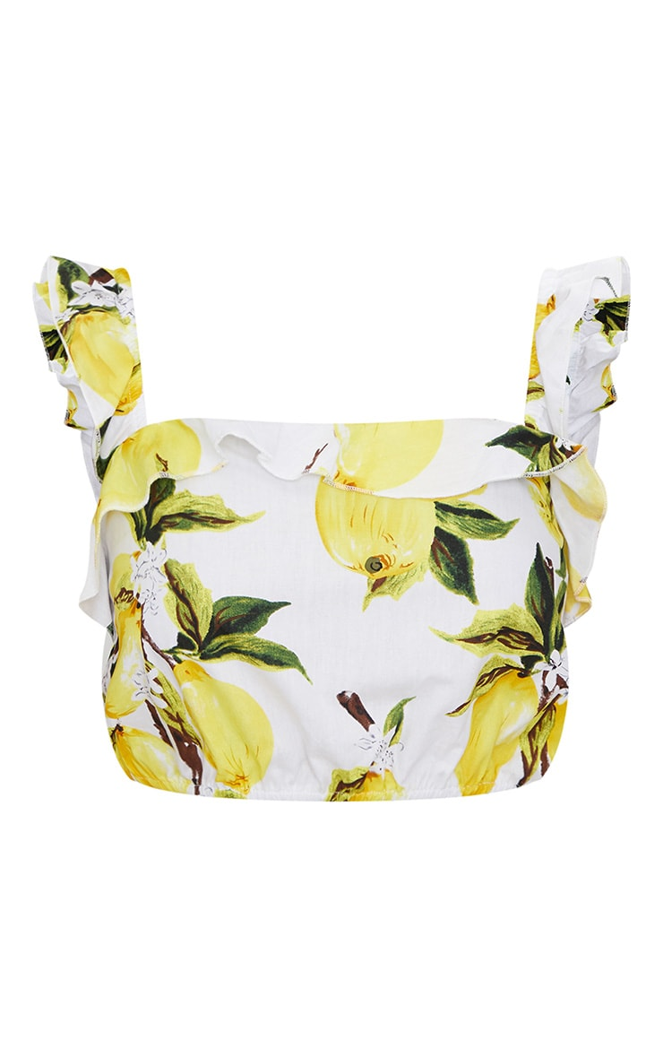 Cream Lemon Print Ruffle Strap Crop Top 3