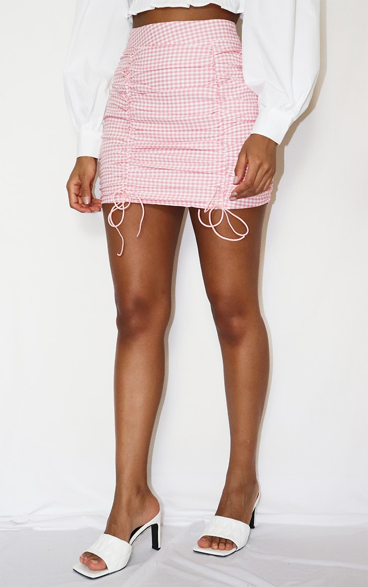 Pink Gingham Ruched Mini Skirt 2