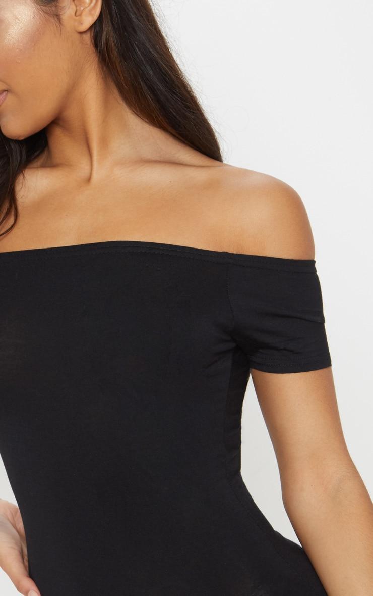 Basic Black Curve Hem Bardot Bodycon Dress 5