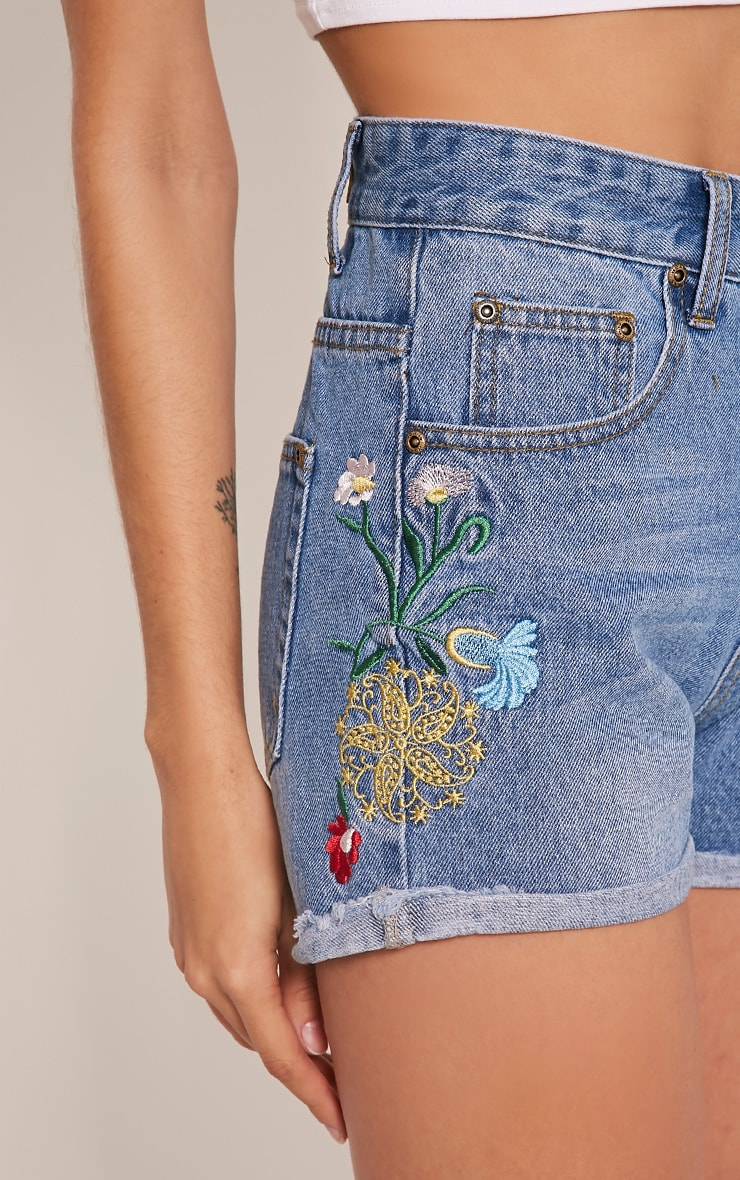 Kitana Mid Wash Embroidered Detail Denim Mom Shorts 6