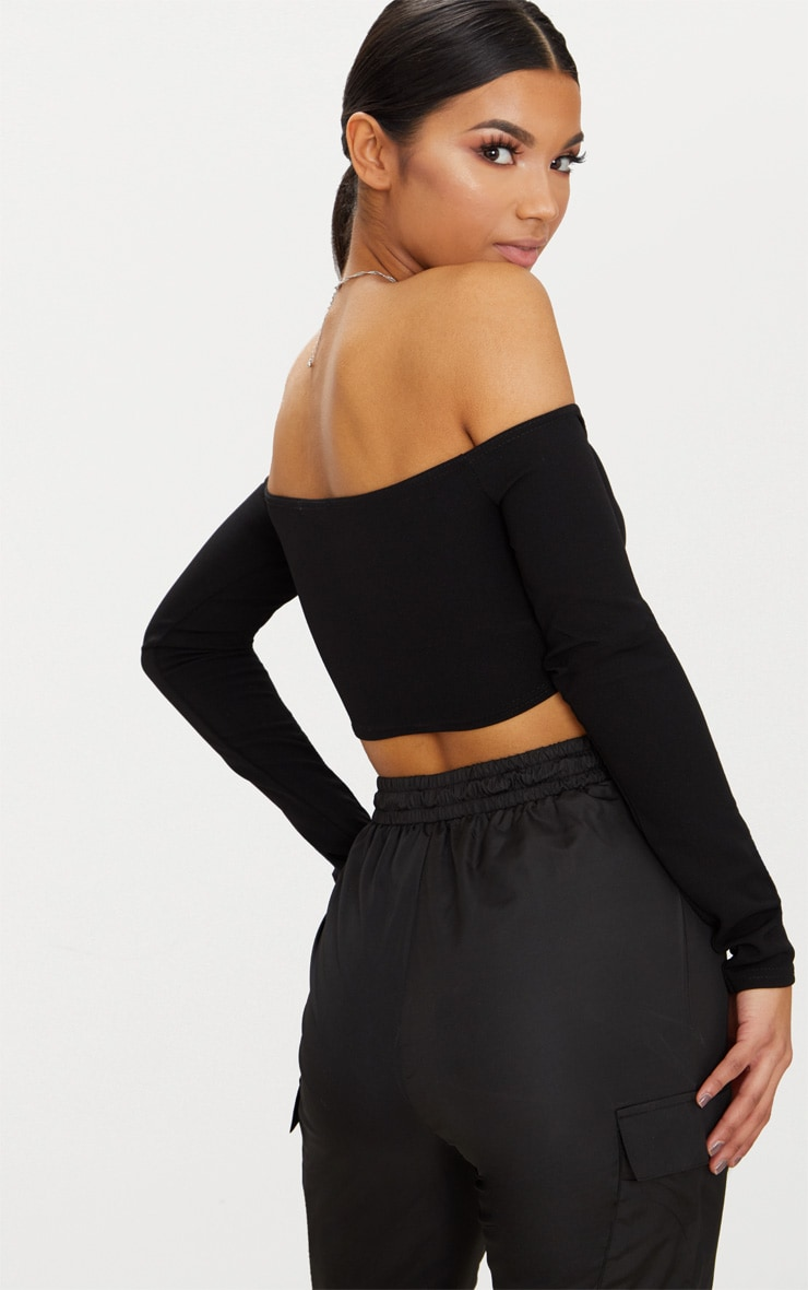 Lace Up Front Bardot Crop top 2