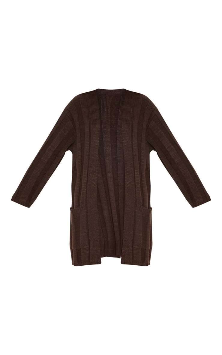 Chocolate Chunky Ribbed Laguna Knit Cardigan  3