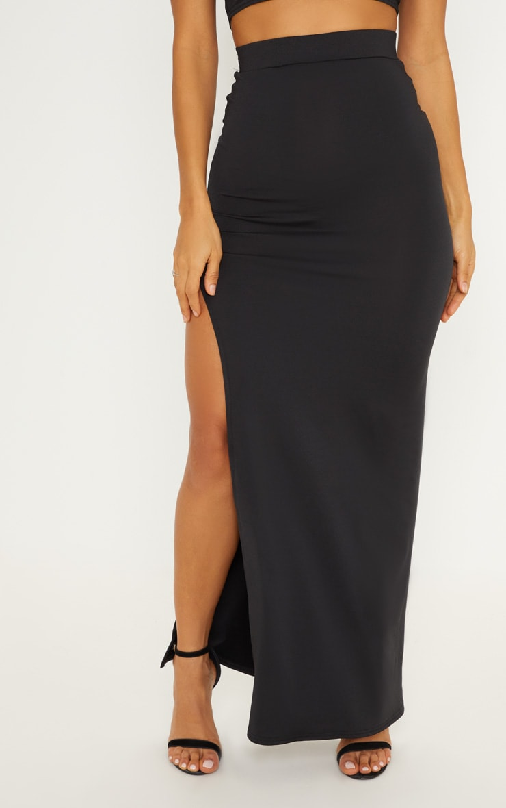 Black Slinky Side Split Maxi Skirt 2