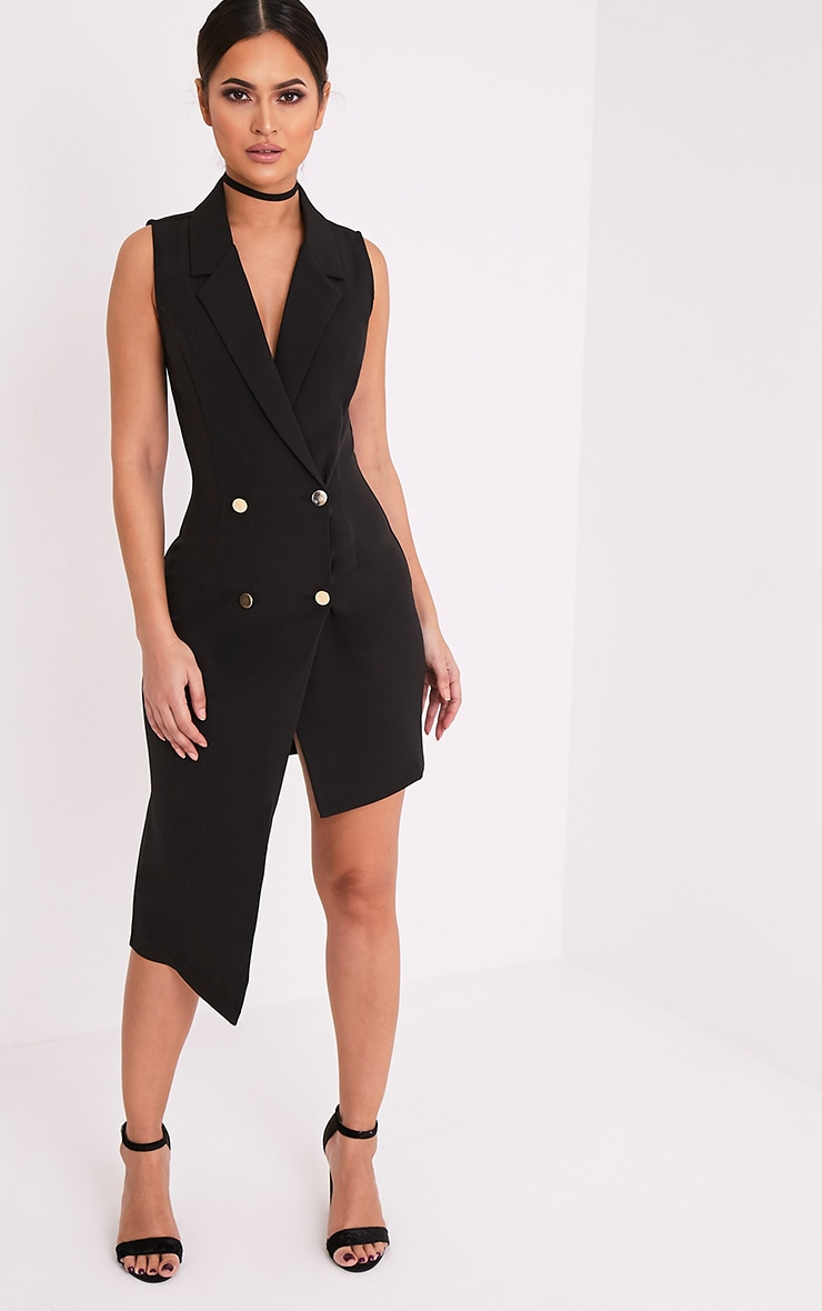 Samanthia Black Asymmetric Blazer Dress 1