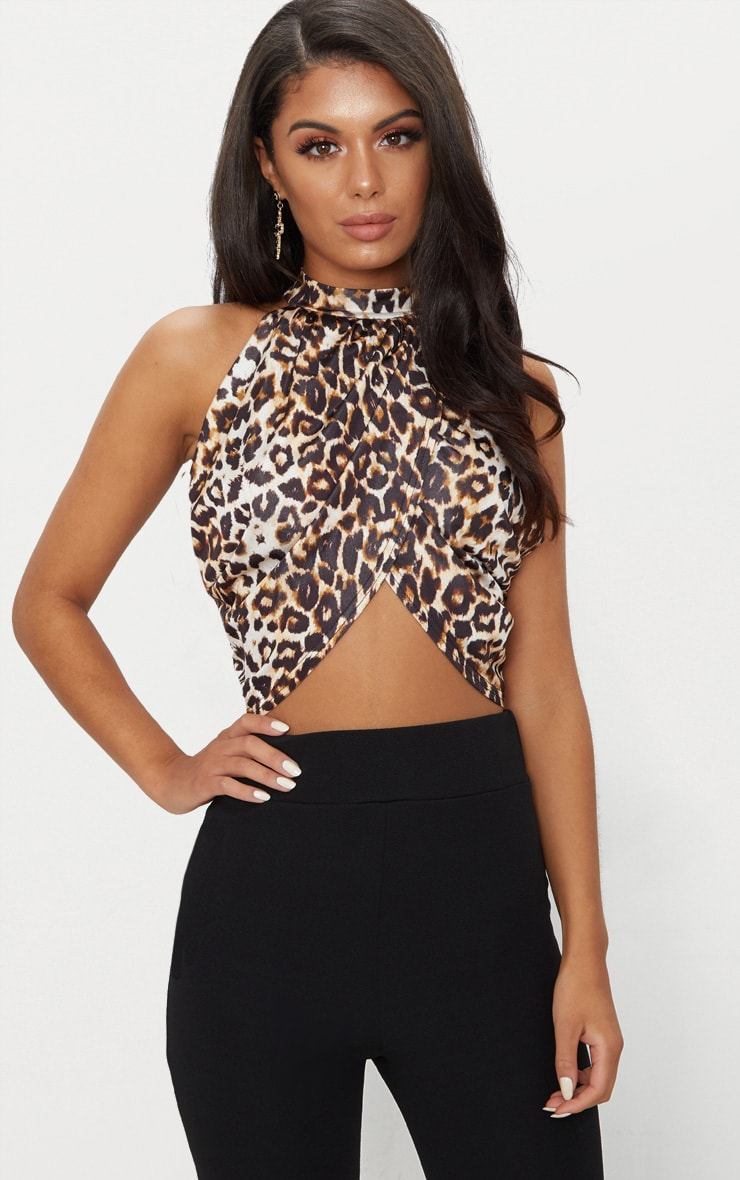 Tan Leopard Neck Wrap Crop Top