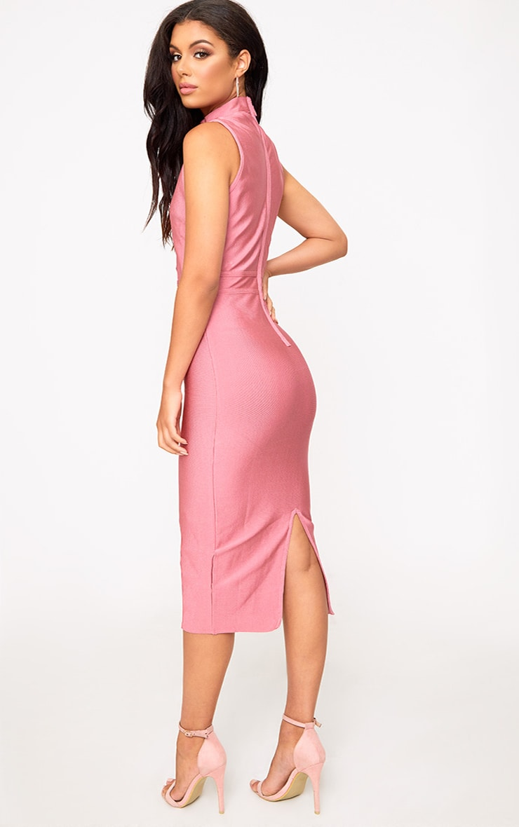 Rose Criss Cross Bandage Midi Dress 2