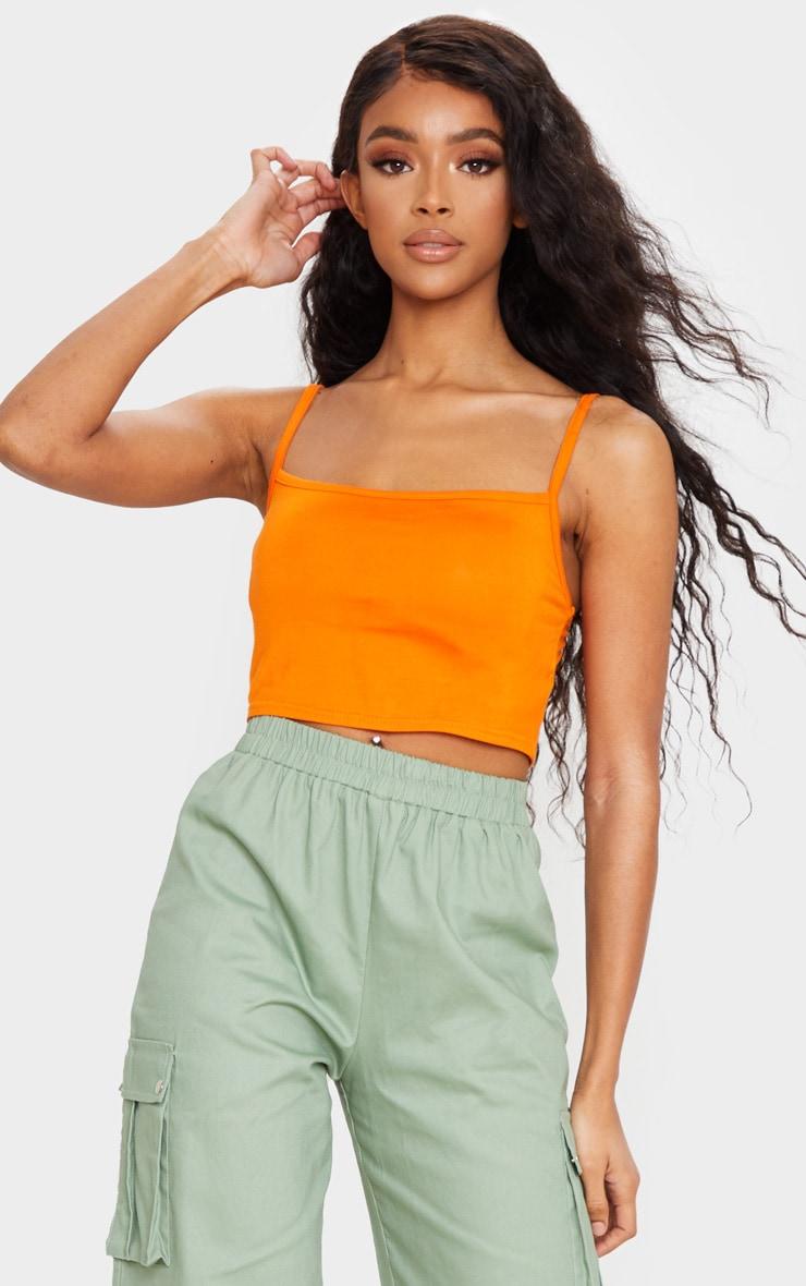 Orange Strappy Jersey Crop Top 4