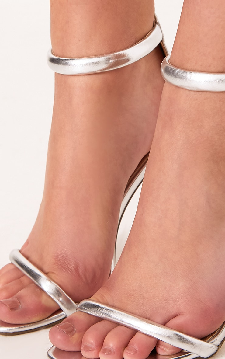 Ruby Silver Square Toe Strappy Heels 5