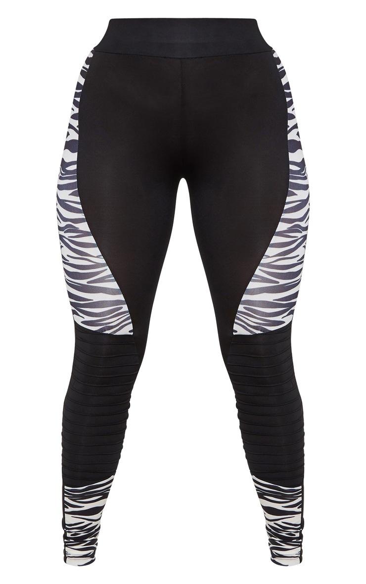 Zebra Panelled Gym Legging With Rib Detail 3