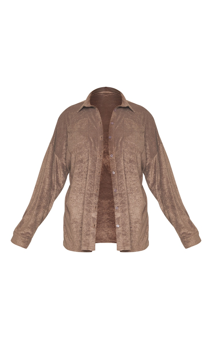 Plus Brown Towelling Oversized Shirt 5