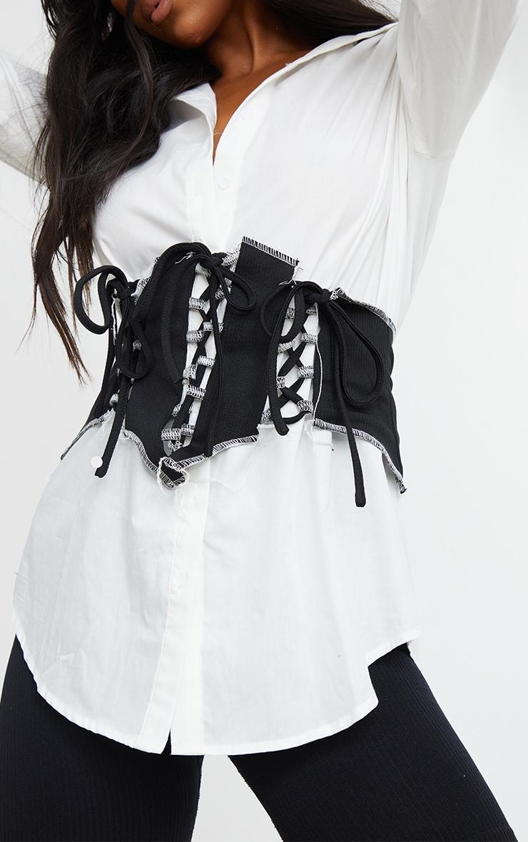 Black Frayed Edge Lace Up Corset Belt 1