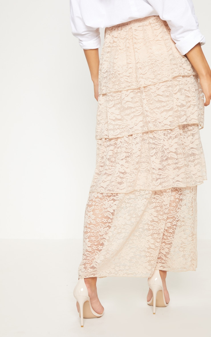 Stone Lace Tiered Maxi Skirt 4