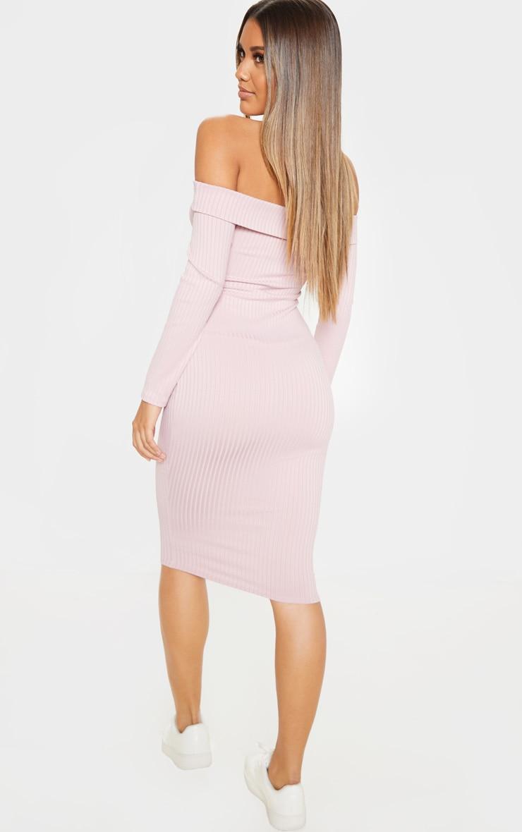 Dusty Lilac Ribbed Folded Bardot Midi Dress 2